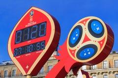 Μόσχα, Ρωσία - 14 Φεβρουαρίου 2018: Χρονόμετρο αντίστροφης μέτρησης πριν από την έναρξη του Παγκόσμιου Κυπέλλου Ρωσία 2018 της FI Στοκ εικόνες με δικαίωμα ελεύθερης χρήσης
