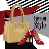 Μόδας κόκκινο τακούνι πορτοφολιών wo ύφους βοηθητικό ελεύθερη απεικόνιση δικαιώματος