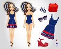 Μόδας παραλία που τίθεται μπλε για το κορίτσι στοκ εικόνα