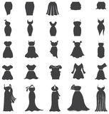 Μόδα γυναικών σκιαγραφιών, ενδύματα, και καθορισμένο σχέδιο εικονιδίων φορεμάτων για Στοκ εικόνες με δικαίωμα ελεύθερης χρήσης
