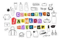 Μόδα και makeup doodles ελεύθερη απεικόνιση δικαιώματος
