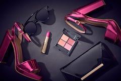 Μόδα καλλυντικό Makeup Εξαρτήματα γυναικών σχεδίου Στοκ φωτογραφίες με δικαίωμα ελεύθερης χρήσης