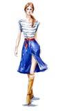 Μόδα οδών απεικόνιση μόδας ενός περπατήματος κοριτσιών Το καλοκαίρι κοιτάζει υψηλό watercolor ποιοτικής ανίχνευσης ζωγραφικής διο ελεύθερη απεικόνιση δικαιώματος