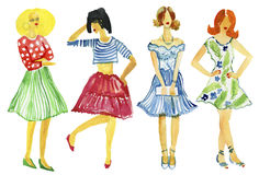 Μόδα οδών απεικόνιση μόδας κορίτσια Το καλοκαίρι κοιτάζει υψηλό watercolor ποιοτικής ανίχνευσης ζωγραφικής διορθώσεων πλίθας phot Στοκ Φωτογραφία