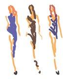 Μόδα σκίτσων - γυναίκες στο τυποποιημένο ύφος διανυσματική απεικόνιση