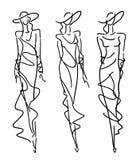 Μόδα σκίτσων - γυναίκες στο ύφος βραδιού διανυσματική απεικόνιση