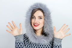 Μόδα χειμερινής ομορφιάς r συγκινήσεις Επαγγελματικά makeup και μανικιούρ Στοκ Φωτογραφία