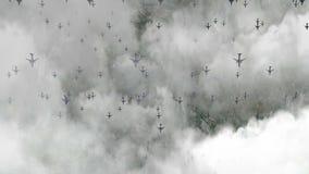 Μύγα αεροπλάνων επάνω από τα σύννεφα απόθεμα βίντεο