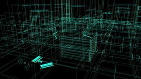Μύγα μέσω των σχηματικών αρχιτεκτονικών σχεδιαγραμμάτων διανυσματική απεικόνιση
