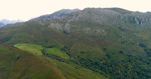 Μύγα με τα βουνά στο μέτωπο και ένα δάσος και ένας τομέας κοντά σε μας στο βόρειο τμήμα της Ισπανίας απόθεμα βίντεο