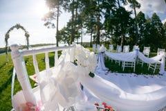 Μύγα ταινιών στον αέρα Ρομαντική γαμήλια τελετή Άσπρες ξύλινες καρέκλες με την κορδέλλα και λουλούδια σε έναν πράσινο χορτοτάπητα Στοκ εικόνες με δικαίωμα ελεύθερης χρήσης