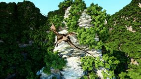 Μύγα Pterodactyl μεταξύ των δύσκολων απότομων βράχων προϊστορική φύση, dinosaurus Ρεαλιστική τρισδιάστατη ζωτικότητα διανυσματική απεικόνιση