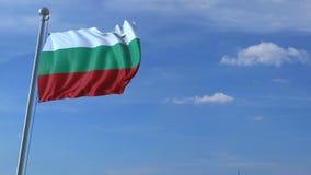 Μύγες αεροπλάνων πέρα από την κυματίζοντας σημαία της Βουλγαρίας τρισδιάστατη ζωτικότητα απεικόνιση αποθεμάτων
