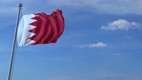 Μύγες αεροπλάνων πέρα από την κυματίζοντας σημαία του Μπαχρέιν τρισδιάστατη ζωτικότητα ελεύθερη απεικόνιση δικαιώματος