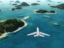 Μύγες αεροσκαφών πέρα από μια θάλασσα ελεύθερη απεικόνιση δικαιώματος