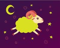 Μύγες αρνιών στον έναστρο ουρανό μεταξύ των αστεριών σύμβολο baa-αρνιών απεικόνισης ενός νανουρίσματος και μιας ώρας για ύπνο ελεύθερη απεικόνιση δικαιώματος
