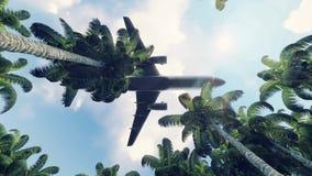 Μύγες επιβατών αεροπλάνου πέρα από την πράσινη ζούγκλα στην ανατολή σε σε αργή κίνηση διανυσματική απεικόνιση