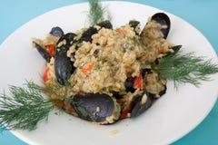 Μύδια Risotto γεύματος Στοκ φωτογραφία με δικαίωμα ελεύθερης χρήσης