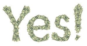 Μύθος φιαγμένος ναι από δολάρια ως σύμβολο της οικονομικής επιτυχίας Στοκ Φωτογραφία