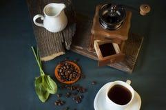 Μύλος καφέ, άσπρο φλιτζάνι του καφέ, φασόλια καφέ και κανάτα γάλακτος Στοκ φωτογραφία με δικαίωμα ελεύθερης χρήσης