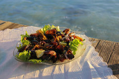 Μύδια και γαρίδες σε ένα εστιατόριο θαλασσινών Στοκ Εικόνα