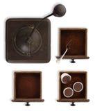 Μύλος συρταριών με τη σκόνη και τις κάψες καφέ Στοκ Φωτογραφίες