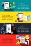 Μ-εμπόριο ή κινητή τηλεφωνική επιχείρηση infographic εμβλήματα για το MO Στοκ Εικόνα