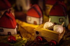 Νάνα σπίτια παραμυθιού και στο δασικό χειροποίητο ξύλινο παιχνίδι φθινοπώρου Στοκ Φωτογραφία
