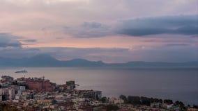 Νάπολη με το Βεζούβιο στην ανατολή απόθεμα βίντεο