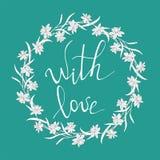 Νάρκισσοι ή daffodils επίσης corel σύρετε το διάνυσμα απεικόνισης floral κύκλος πλαισίων Λουλούδια άνοιξη στο τυρκουάζ Να γράψει  διανυσματική απεικόνιση