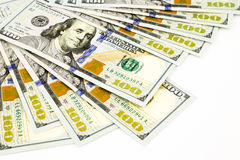 Νέα έκδοση τραπεζογραμμάτια 100 δολαρίων, χρήματα και έννοια νομίσματος Στοκ Εικόνες