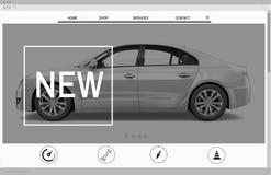 Νέα έννοια άφιξης αρχικών σελίδων αυτοκινήτων διαφήμισης ιστοχώρου Στοκ φωτογραφία με δικαίωμα ελεύθερης χρήσης