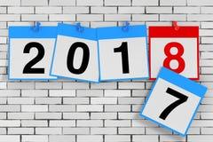 Νέα έννοια έναρξης έτους του 2018 Ημερολογιακά φύλλα με το νέο έτος του 2018 Στοκ Εικόνα