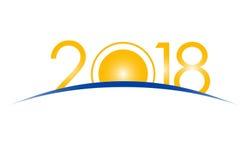 Νέα έννοια έτους 2018 - ανατολή με τα ψηφία διανυσματική απεικόνιση