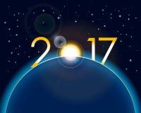 Νέα έννοια έτους - ανατολή με τα ψηφία 2017 διανυσματική απεικόνιση
