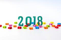2018 νέα έννοια έτους ομάδα ζωηρόχρωμων αστεριών περίπου 2 0 1 8 NU Στοκ Εικόνα
