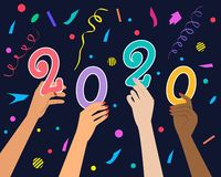 Νέα έννοια έτους 2020 στο σκοτεινό υπόβαθρο ελεύθερη απεικόνιση δικαιώματος