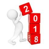 Νέα έννοια έτους του 2018 Πρόσωπο που τοποθετεί 2018 νέους κύβους έτους τρισδιάστατος σχετικά με ελεύθερη απεικόνιση δικαιώματος