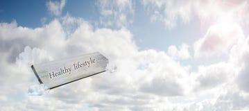Νέα έννοια ζωής για το νέο ξεκίνημα, νέο ψήφισμα έτους, να κάνει δίαιτα και υγιεινός τρόπος ζωής, ξύλινο σημάδι στο μπλε ουρανό στοκ εικόνες
