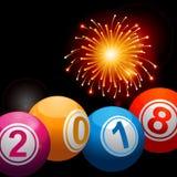 Νέα έτη 2018 σφαίρες και πυροτεχνήματα λαχειοφόρων αγορών bingo Στοκ εικόνα με δικαίωμα ελεύθερης χρήσης