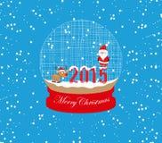 Νέα έτος και Χριστούγεννα Άγιος Βασίλης και σφαίρα ελαφιών Στοκ Φωτογραφία