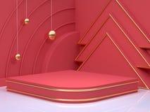 Νέα έτους χρυσή σφαίρα απόδοσης έννοιας τρισδιάστατη κόκκινη γωνία πατωμάτων τοίχων σκηνής αφηρημένες ελάχιστες διακοπές Χριστουγ απεικόνιση αποθεμάτων