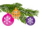 Νέα ανασκόπηση έτους ή Χριστουγέννων Κλάδος γούνα-δέντρων με τις πολύχρωμες σφαίρες απεικόνιση Στοκ Εικόνες