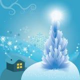 Νέα ανασκόπηση έτους με το χριστουγεννιάτικο δέντρο. Στοκ Φωτογραφίες
