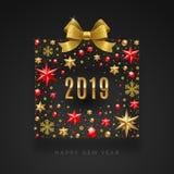 Νέα απεικόνιση έτους 2019 Το αφηρημένο κιβώτιο δώρων έκανε από τα αστέρια, ροδοκόκκινοι πολύτιμοι λίθοι, χρυσά snowflakes, χάντρε απεικόνιση αποθεμάτων