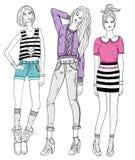 Νέα απεικόνιση κοριτσιών μόδας απεικόνιση αποθεμάτων