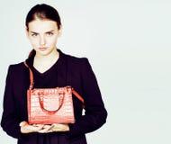 Νέα αρκετά δροσερή επιχειρησιακή κυρία μόδας που φορά το μαύρο κοστούμι και το ο Στοκ εικόνες με δικαίωμα ελεύθερης χρήσης