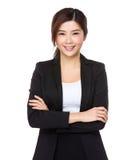 Νέα ασιατική επιχειρηματίας στο άσπρο υπόβαθρο Στοκ Φωτογραφία