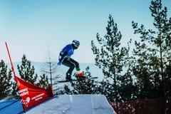 Νέα αφετηρία άλματος αθλητών snowboarder Στοκ φωτογραφίες με δικαίωμα ελεύθερης χρήσης