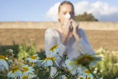 Νέα αλλεργική γυναίκα που φτερνίζεται σε ένα λιβάδι Στοκ Φωτογραφίες
